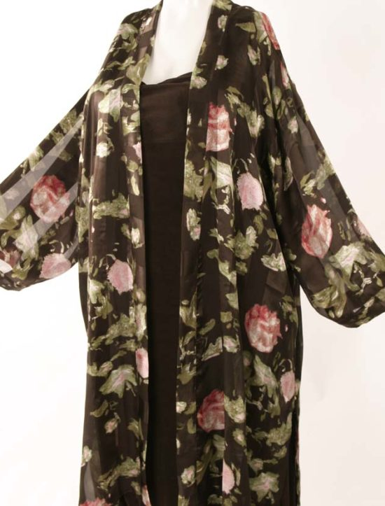 Calf Length Kimono Jacket BF English Rose Damask Silk Charmeuse (Plus-Size)