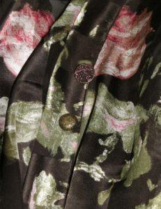 Calf Length Kimono Jacket BF English Rose Damask Silk Charmeuse (Plus-Size)