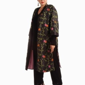 Plus Size Special Occasion Kimono Coat Beaded Embroidered Floral Black Brights