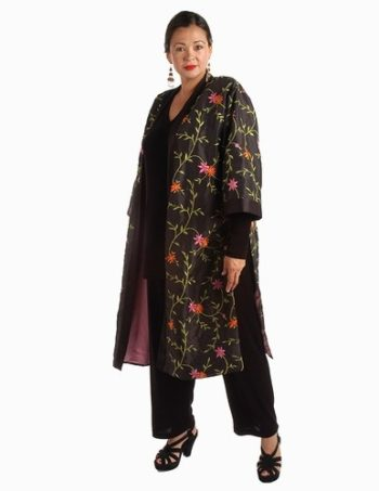 Calf-Length Kimono Jacket Black Taffeta with Brights Embroidered Jeweled Floral Size 14/16