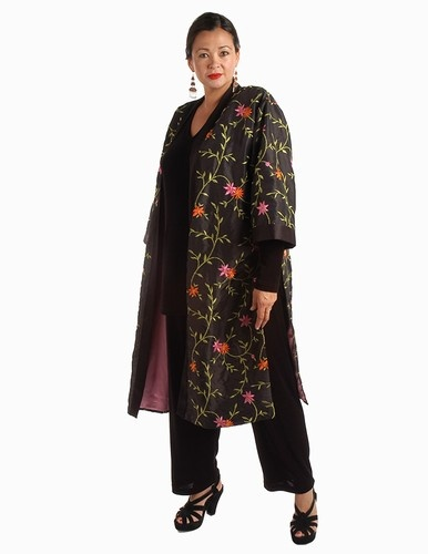 Calf-Length Kimono Jacket Black Taffeta with Brights Embroidered Jeweled Floral Size 14/16