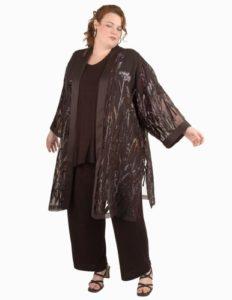 Calf-Length Kimono Jacket Black/Mauve Floral Tinsel Burnout (Plus-Size)
