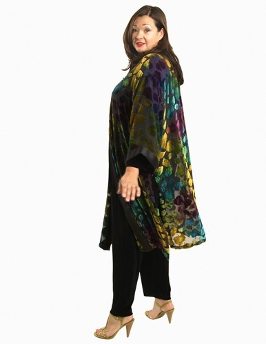 Calf-Length Kimono Jacket in Brilliant Fall Silk Velvet Burnout (Plus-Size)