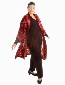 Calf-Length Kimono Jacket in Burgundy Eden Silk Velvet Burnout (Plus-Size)