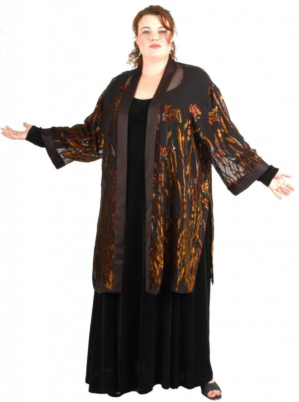 Plus Size Special Occasion Kimono Jacket Floral Burnout Copper Brown