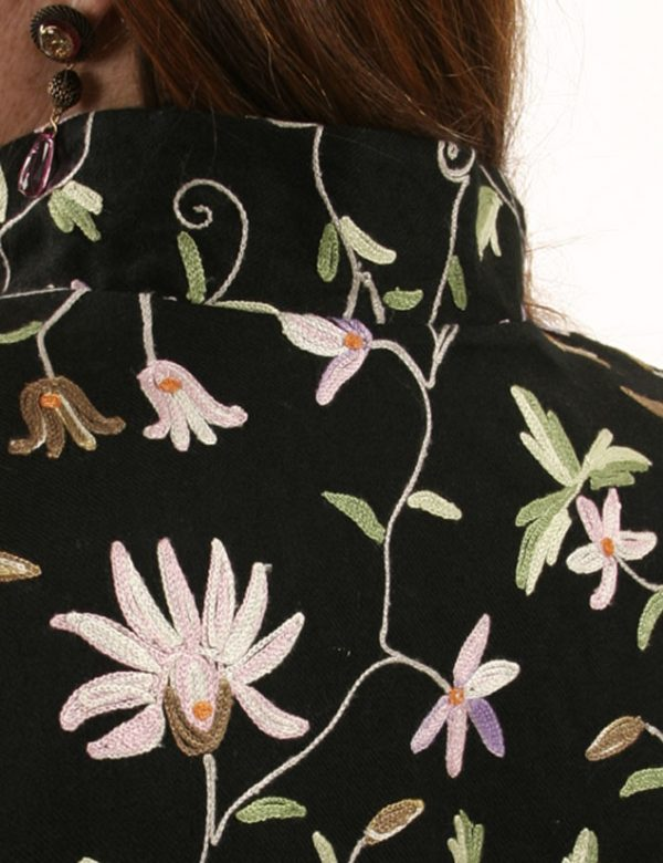 Mandarin Jacket Black Pastels Floral Embroidered Wool Size 18/20