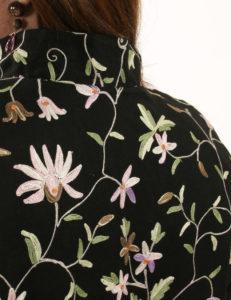Mandarin Jacket Black Floral Embroidered Wool (Plus-Size)