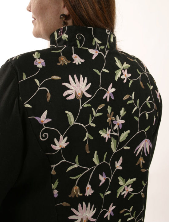 Mandarin Jacket Black Floral Embroidered Wool (Plus-Size)