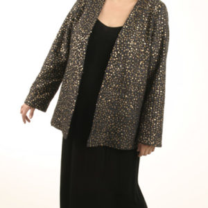 Special Occasion Blazer Jacket Black Raw Silk Burnished Gold Sequins Sizes 14 – 32