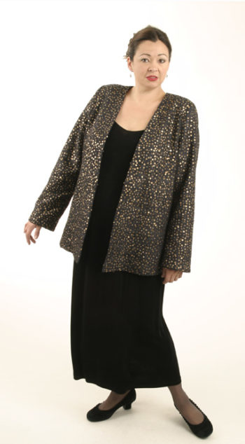 Plus Size Special Occasion Jacket Raw Silk Sequins Black Gold