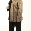 Plus Size Special Occasion Jacket Raw Silk Stripe Gold Brights