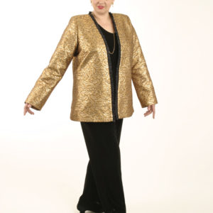 Plus Size Special Occasion Jacket La Croix Brocade Gold Black