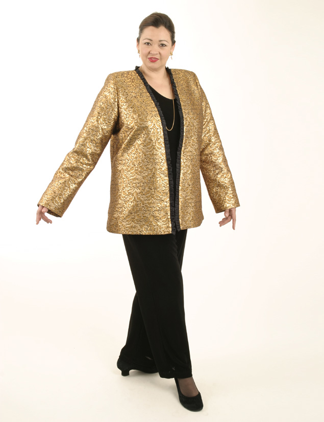 Coco Jacket in La Croix Gold Brocade (Plus-Size)