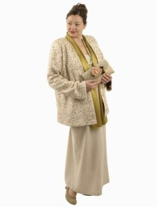 beige jacket with gold sequins