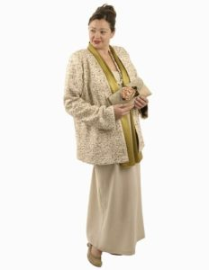 beige jacket with gold sequins