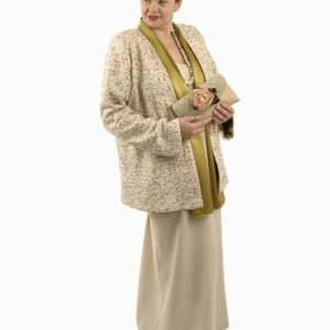 Mother of Bride Jacket Dress Natural Raw Silk Burnished Gold Sequins Sizes 14 – 32