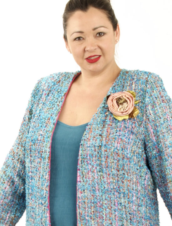 Plus Size Mother of Bride Jacket Chanel Boucle Turquoise Pink