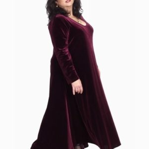 Plus Size Long Curved Dress Burgundy Lycra Velvet 14 – 36