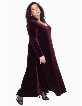 Curved Dress in Burgundy Lycra Velvet (Plus-Size)