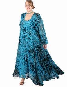 Curved Dress in Turquoise/Chocolate Abstract Paisley Silk Velvet Burnout (Plus-Size)