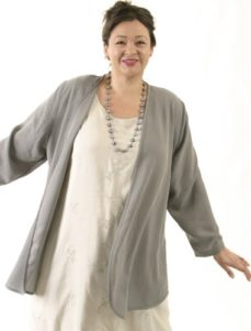 Daisy Jacket Gray Lizard Sandwashed Rayon (Plus-Size)
