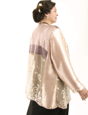 Plus Size Mother of Bride Daisy Jacket Champagne Pink Silver Sizes 22/24 26/28