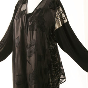 Plus Size Special Occasion Jacket French Silk Artwear Champagne Black