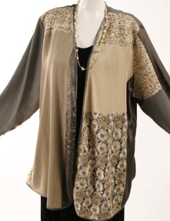 pPlus Size Mother of Bride Daisy Jacket Sequins Natural Taupe