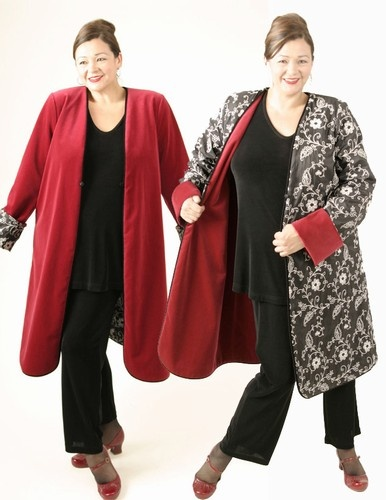 Plus Size Reversible Coat Velvet Floral Embroidered Black White Red