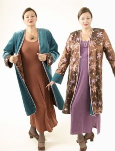 Plus Size Reversible Coat Velvet Floral Embroidered Copper Peacock Blue