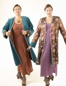 Plus Size Reversible Coat Velvet Floral Embroidered Copper Peacock Blue