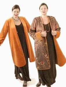 Plus Size Reversible Coat Velvet Floral Embroidered Saffron Bronze