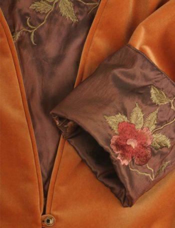 Plus Size Reversible Coat Velvet Floral Embroidered Saffron Bronze