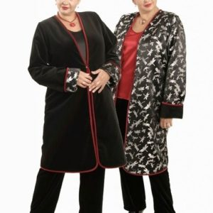 Plus Size Reversible Coat Velvet Silk Dragonflies Black Silver