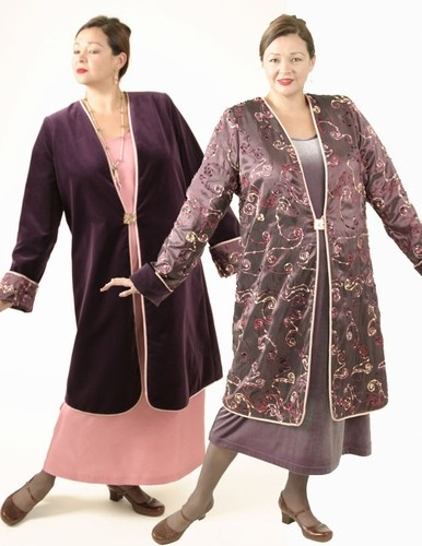 Plus Size Reversible Coat Velvet Floral Embroidered Smoky Mauve Merlot