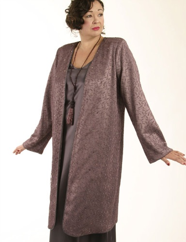 Dragon Lady Coat Deep Dusty Rose Mesh with Swarovski Crystals Mesh (Plus-Size)
