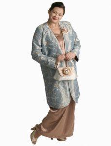 Dragon Lady Coat in Aqua Vines Embroidered and Jeweled Taffeta (Plus-Size)
