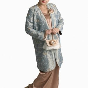 Mother of Bride Formal Coat Embroidered Beaded Aqua Sizes 14 – 32