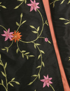 Dragon Lady Coat Black/Pink/Tangerine Embroidered and Jeweled Taffeta (Plus-Size)