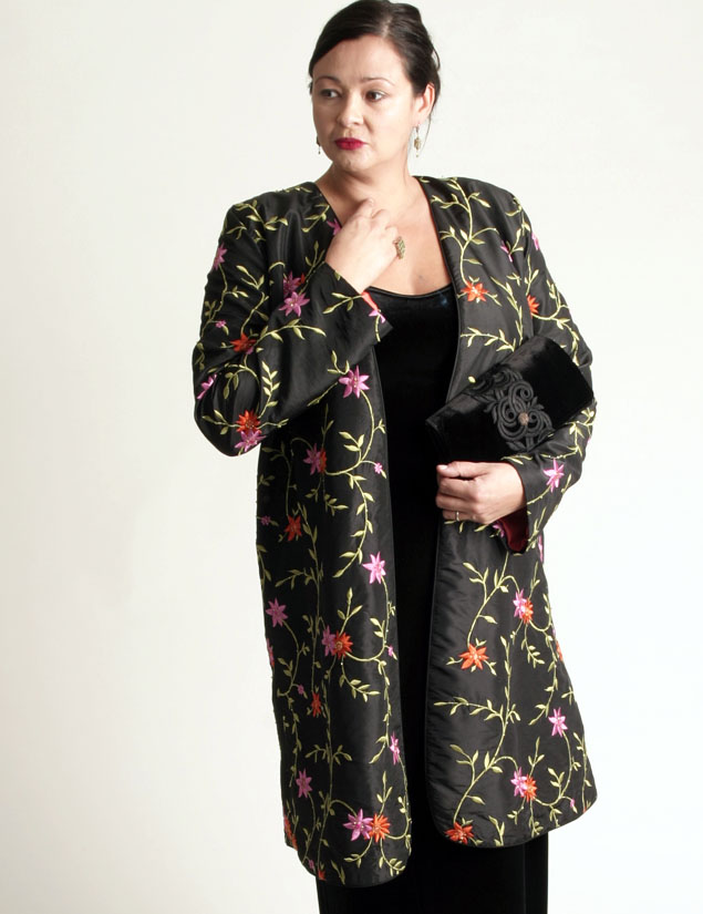 Dragon Lady Coat Black/Pink/Tangerine Embroidered and Jeweled Taffeta (Plus-Size)