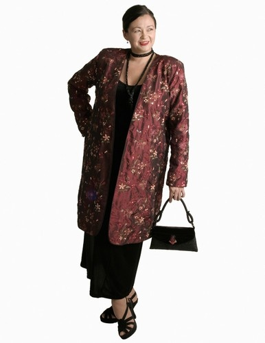 Dragon Lady Coat in Burgundy Floral Embroidered and Jeweled Taffeta (Plus-Size)