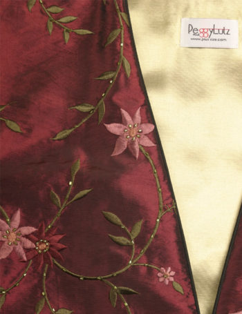Plus Size Special Occasion Coat Floral Embroidery Beaded Burgundy Olive