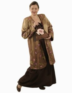 Dragon Lady Coat in Bronze French Embroidered Mesh (Plus-Size)