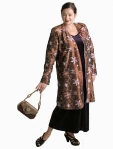 Dragon Lady Coat in Copper/Multi Floral Embroidered Taffeta (Plus-Size)
