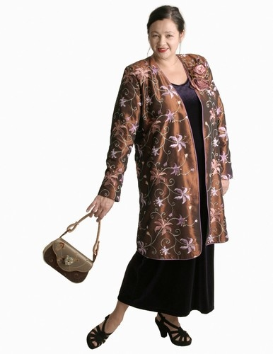 Dragon Lady Coat in Copper/Multi Floral Embroidered Taffeta (Plus-Size)