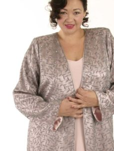 Dragon Lady Coat Silver Rose Embellished Mesh (Plus-Size)