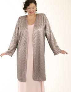 Mother Bride Formal Coat Swarovski Crystals Silver Pink Custom Made Sizes 14 - 32