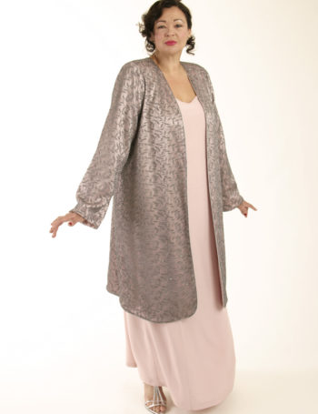 Mother Bride Formal Coat Swarovski Crystals Silver Pink Custom Made Sizes 14 – 32