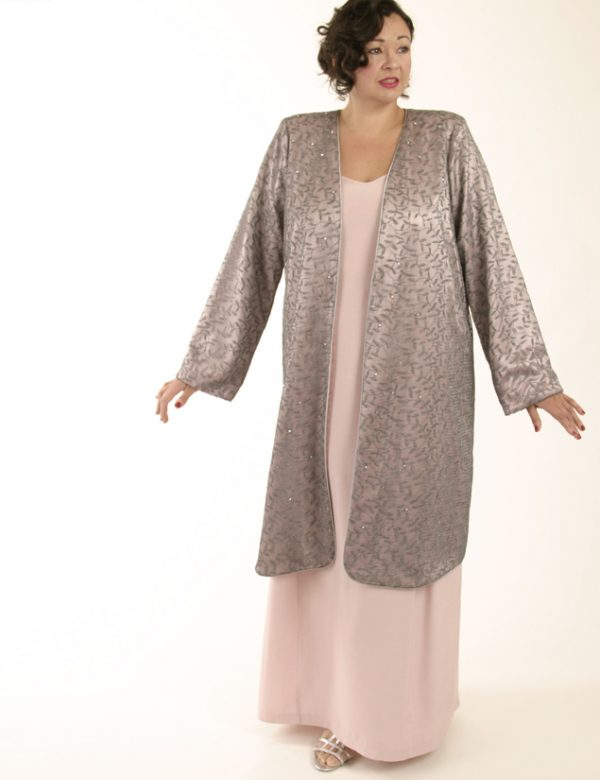 Mother Bride Formal Coat Swarovski Crystals Silver Pink Custom Made Sizes 14 – 32