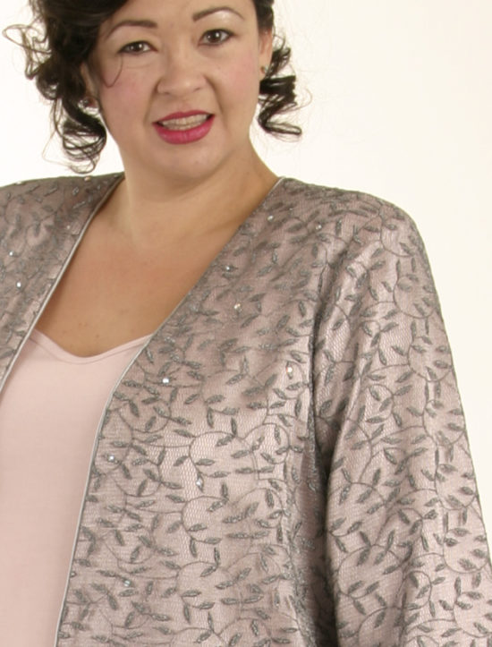 Mother Bride Formal Coat Swarovski Crystals Silver Pink Custom Made Sizes 14 - 32